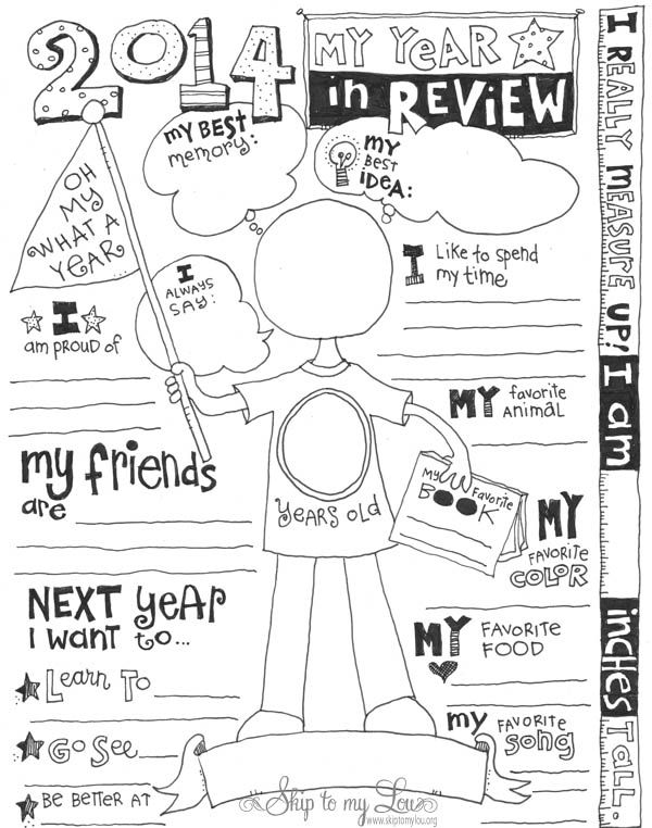 Super fun free kid's year In review printable coloring page!