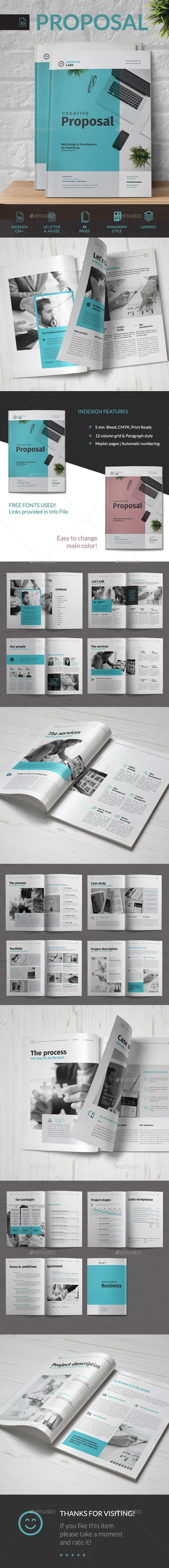 Creative Proposal Brochure Template InDesign INDD - 24 Pages - A4 & US Letter Format With Bleed