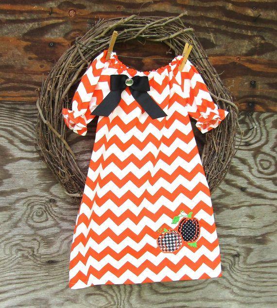 Girls Orange Chevron Dress Girls Peasant Dress by SouthernSister2
