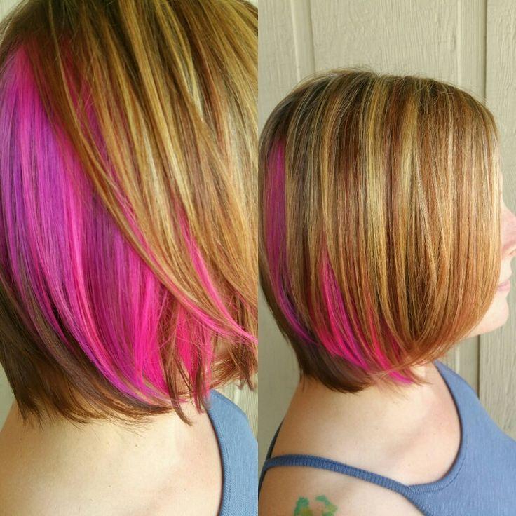 Pink peekaboo hair