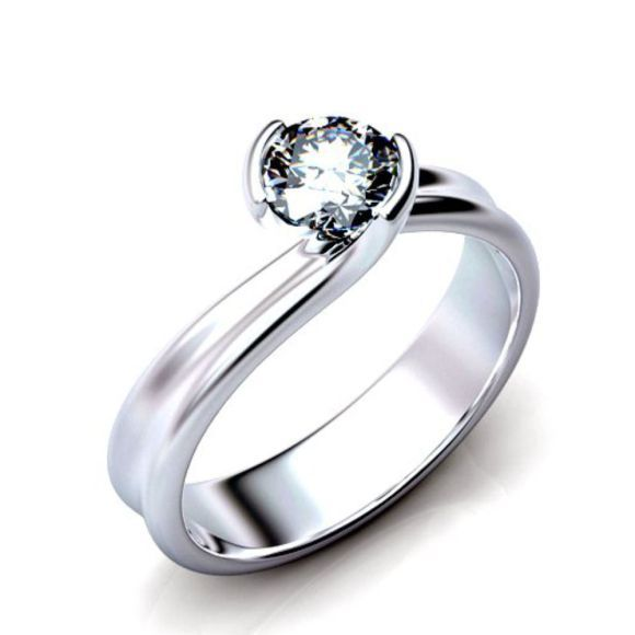Spectacular Buy Kt White Gold Basel Setting Round Diamond Engagement Ring at wholesale Price with Lifetime Warranty