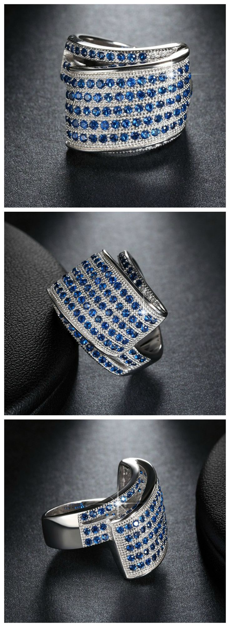 Ziphlets pave sapphire ring. Get 10% off with the code ZIPHLETS10
