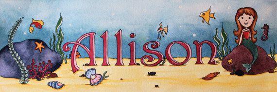 Mermaid Undersea Personalized Name by ErinFarnsworthStudio on Etsy