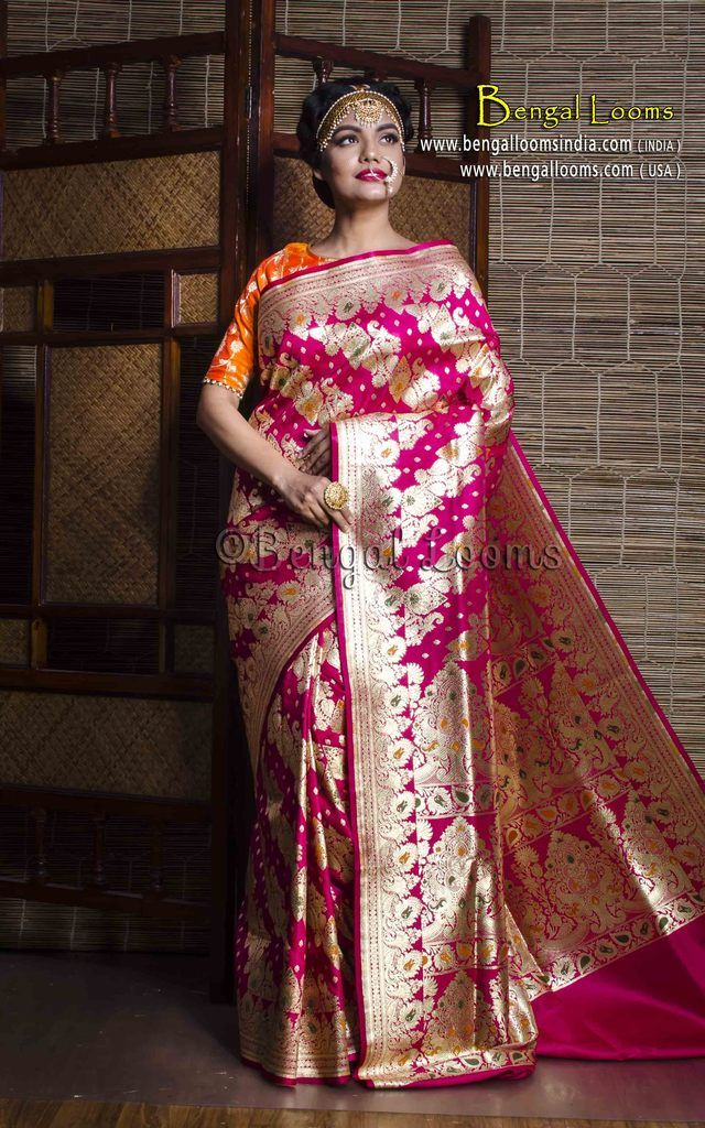 7c479e5122 Art Silk Bridal Banarasi Saree in Rani and Gold with Minakari Work ...
