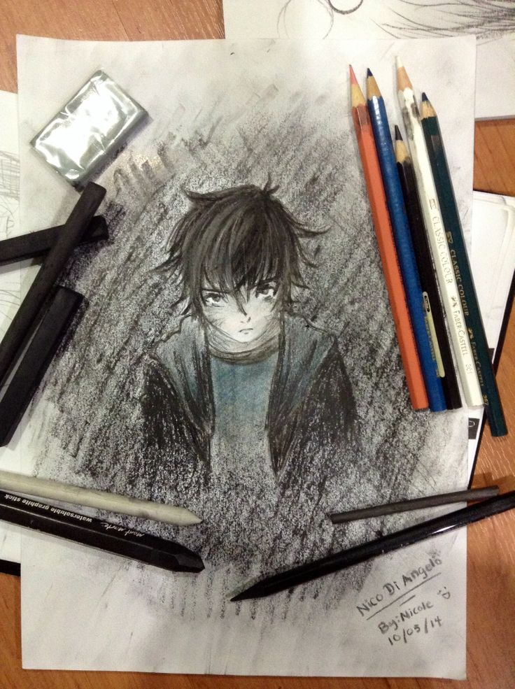 This is my first time drawing with charcoal! My hands got all black and I touched my other drawing tools and they turned black too and now everything is black!!!! Charcoal meets Nico Di Angelo, son of Hades, from Heroes of Olympus!!! <3 <3 <3