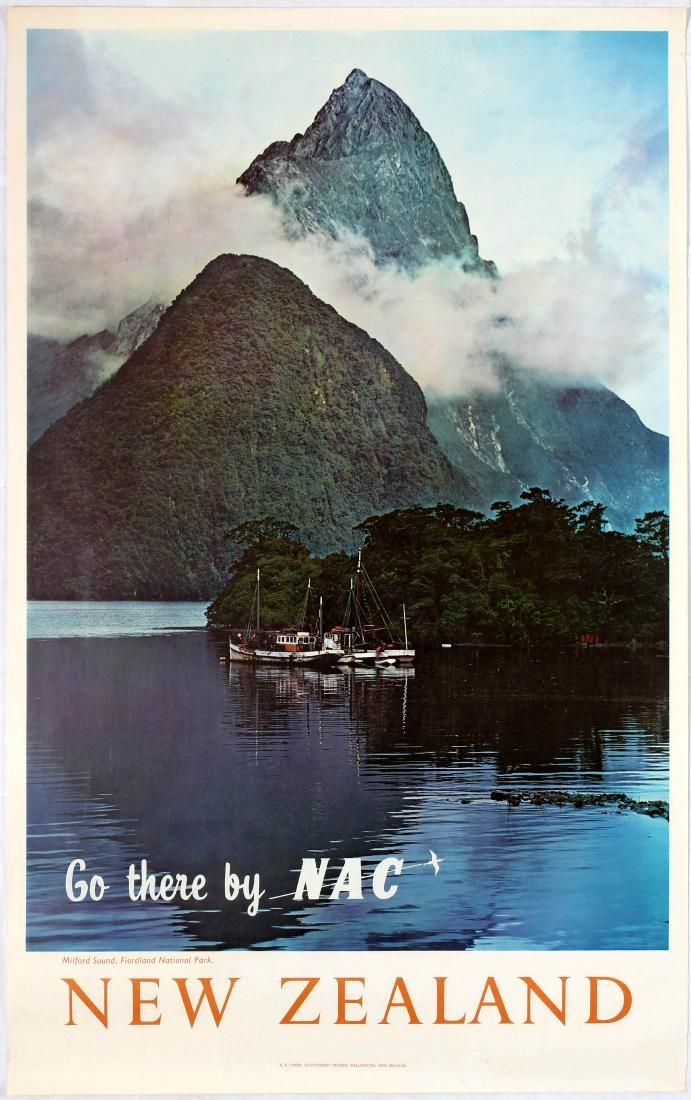 New Zealand - Milford Vintage Travel Poster -  New Zealand -  Fiorland National Park  - New Zealand National Airways Corporation - 1960's .