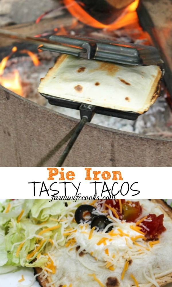 Are you looking for a new, easy, make ahead recipe to make during your next camping trip? This Pie Iron Tasty Taco recipe is great over the campfire. #Camping #Tacos #TacoTuesday