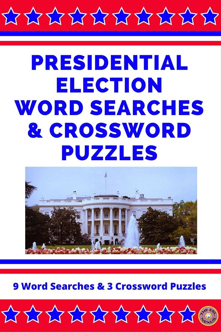 These 9 no prep, print & go Presidential Election Word Searches and 3 Crossword Puzzles offer students fun ways to supplement their learning of how U.S. presidents are elected. The word searches & crossword puzzles use 24 words related to the presidential election process. Each word search is available at three levels of difficulty--easy, intermediate, and challenging--to address the needs of all students. Answer keys are provided for all the word searches and crossword puzzles.