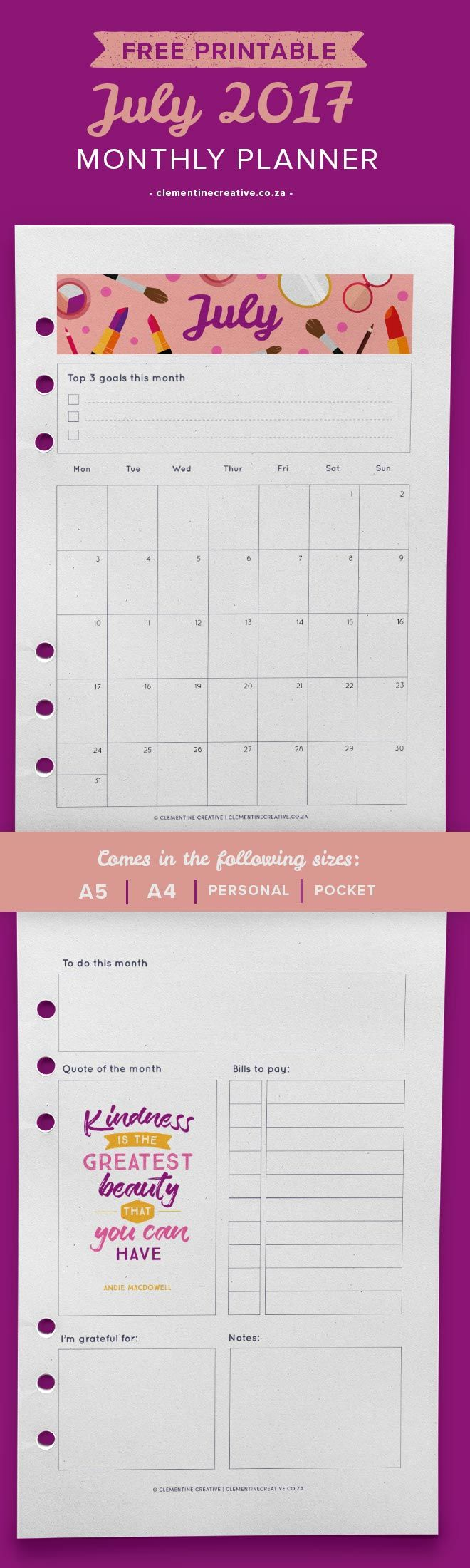 Download this June 2017 monthly planner template for free! It fits a variety of planners and folders. Subscribe to receive a new planner page every month in your inbox!