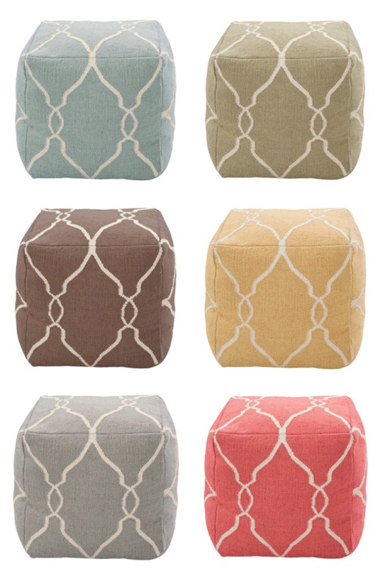 (I love these fantastic poufs from Target!!! Any color would look awesome with my grey couch in the living room