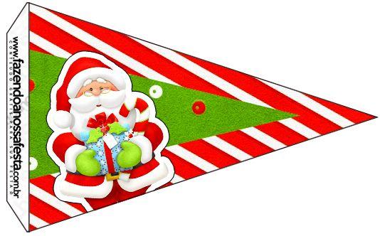 Bandeirinha Sanduiche 3 Natal Vermelho e Verde