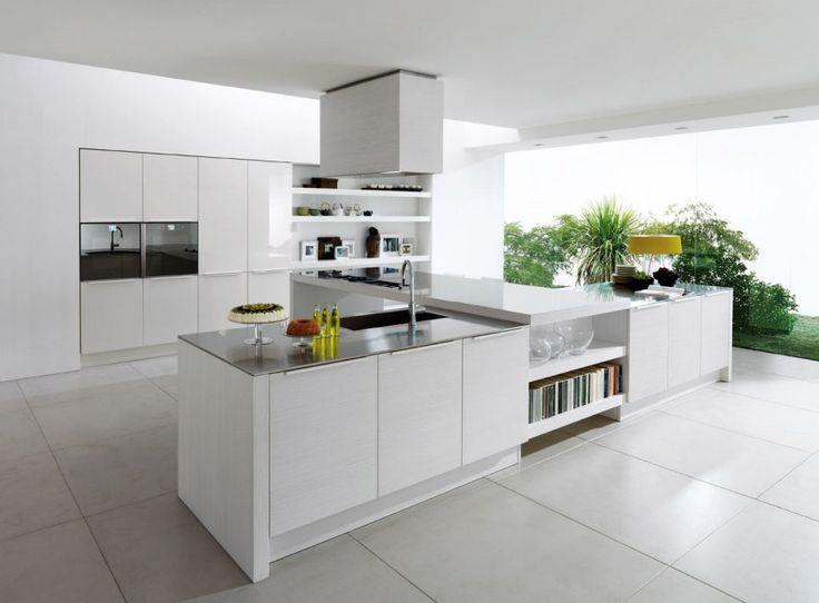 keuken (wit, keukeneiland, kastenwand)
