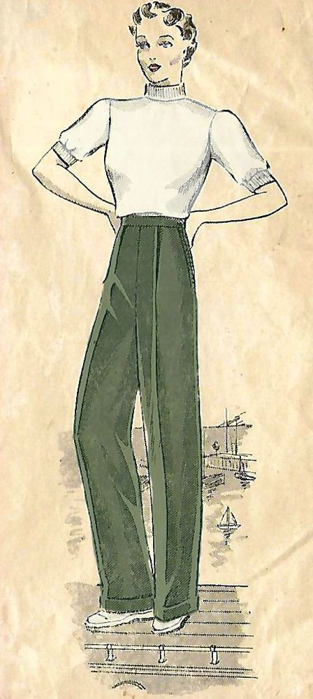 "Vintage 1930s Sewing Pattern WW2 Land Army Women's Slacks Pants Trousers Hip 36"" #PracticalPatterns"