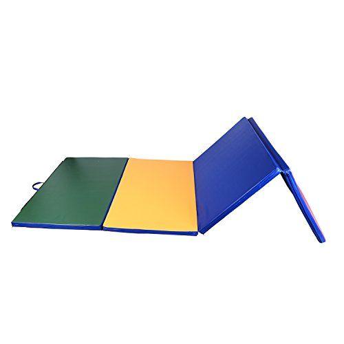 TAPIS DE GYMNASTIQUE PLIABLE NATTE DE GYM MATELAS FITNESS 305x122x5CM MULTICOLORE: Ce tapis de gym pliant est d'un grand confort grâce à…