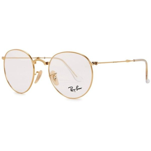 Ray-Ban Gold Tone Foldable Round-frame Optical Glasses ($210) ❤ liked on Polyvore featuring men's fashion, men's accessories, men's eyewear, men's eyeglasses and ray ban mens eyeglasses
