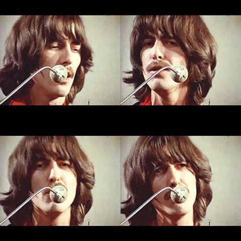 George Harrison making backing vocals on Let It Be by Paul McCartney in Apple Studios, 3 Savile Row, London in the Beatles headquaters.