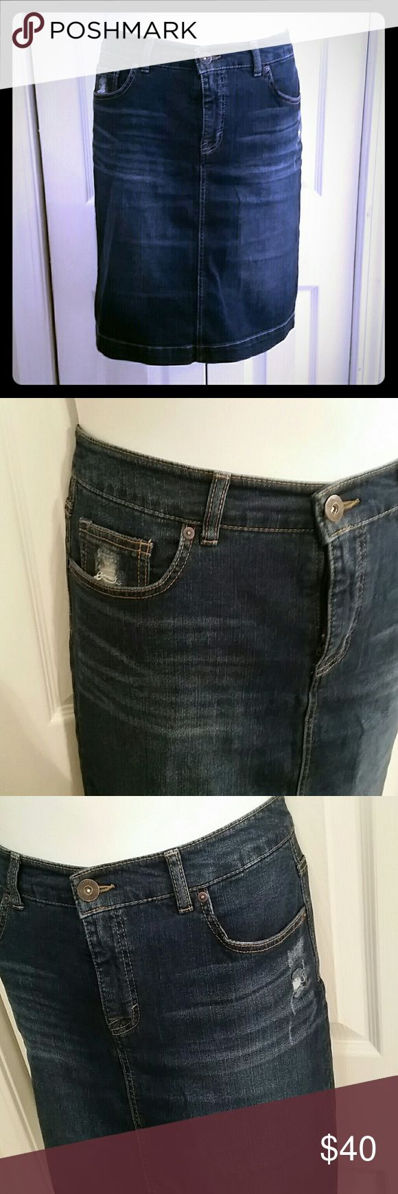 Distressed Jean Skirt Blue jean skirt from  Style & Co Denim Modern distressed style  Size 10 Waist 17 inches across lying flat 21 inches long Style & Co Skirts