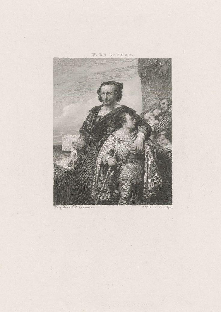 Johann Wilhelm Kaiser (I) | Christoffel Columbus, Johann Wilhelm Kaiser (I), Arie Cornelis Kruseman, 1859 | Christoffel Columbus neemt een jongen mee onder zijn arm, terwijl een man, een vrouw en twee kleinere kinderen, mogelijk het gezin van de jongen, achterblijven.