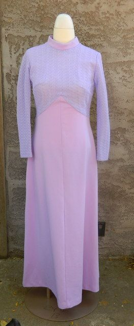 Purple Vintage Dress / Long Sleeve Lilac Dress / Montgomery Ward Full Length 1960s Formal Dress Size Large by VintageBaublesnBits on Etsy