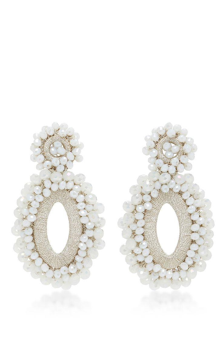 *M'o Exclusive* Beaded Drop Earrings In White by BIBI MARINI for Preorder on Moda Operandi