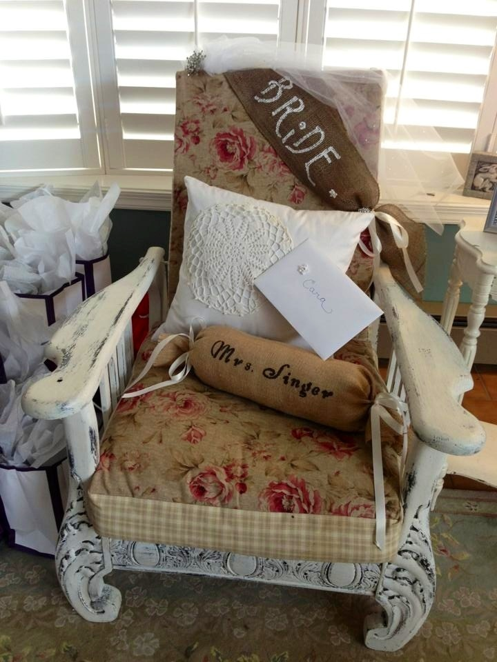 Brides chair. Snow themed bridal shower!