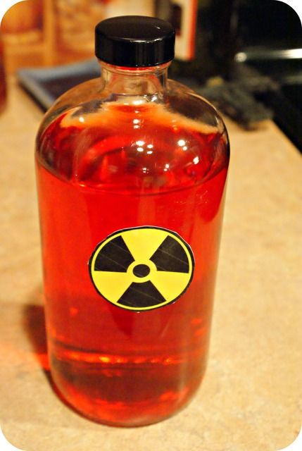 food coloring/water, biohazard labels - add bio hazard labels to bottles with food coloring for the lab - crafts