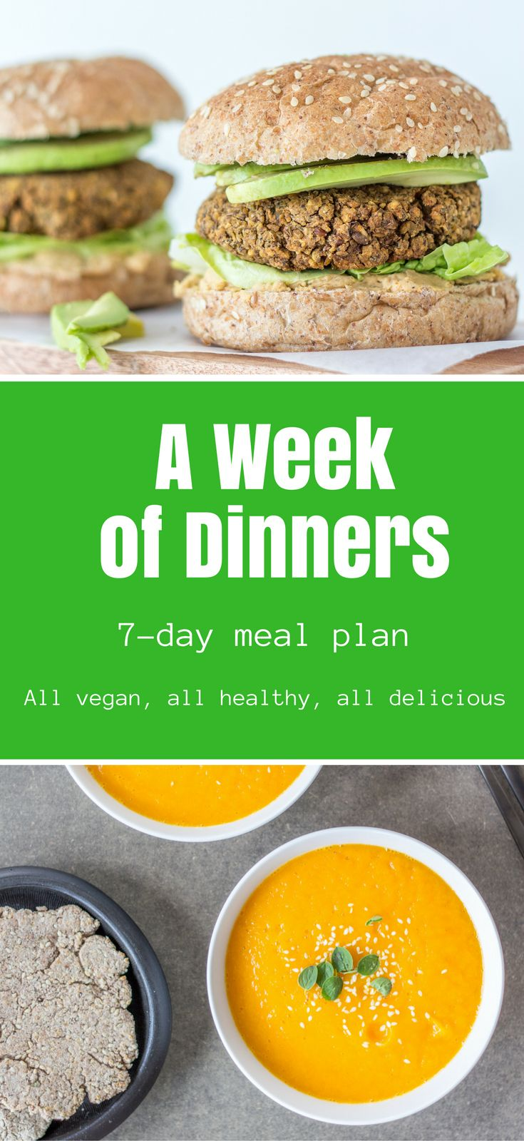 A Week of Dinners will help make dinner simple, healthy, and delicious. All recipes are plant-based / vegan.    With this cookbook you don't have to worry about the grocery list, wasting ingredients, or planning the meals.