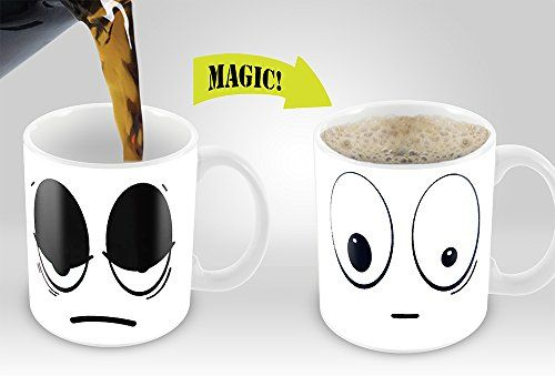 White Wake up Magic Mug | Amazing New Heat Sensitive Color Changing Coffee Mug , Good Unique Gift Idea | 11oz 100% Ceramic Mug | The Gift Central