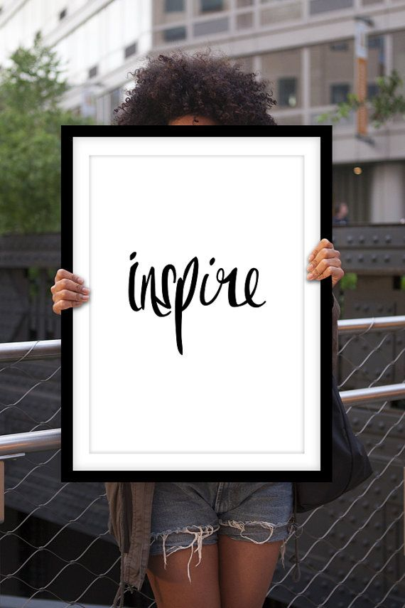 """Inspirational Print """"Inspire"""" Black and White Handwritten Style Typographic Art Print Wall Decor Poster"""