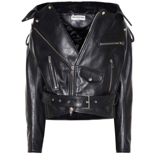 Balenciaga Leather Biker Jacket ($3,735) ❤ liked on Polyvore featuring outerwear, jackets, balenciaga, tops, black, 100 leather jacket, moto jacket, leather jackets, rider jacket and genuine leather jackets