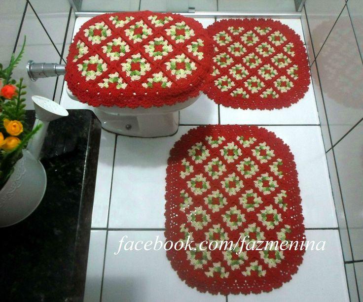 Jogo de banheiro em squares de crochê À pedido da cliente 01 tapete pequeno  -> Jogo De Banheiro Pia E Vaso
