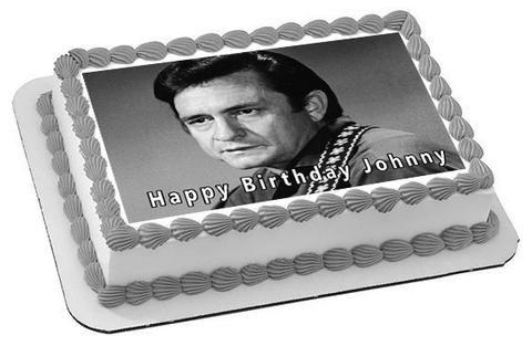 Johnny Cash 2 Edible Birthday Cake Topper OR Cupcake Topper, Decor