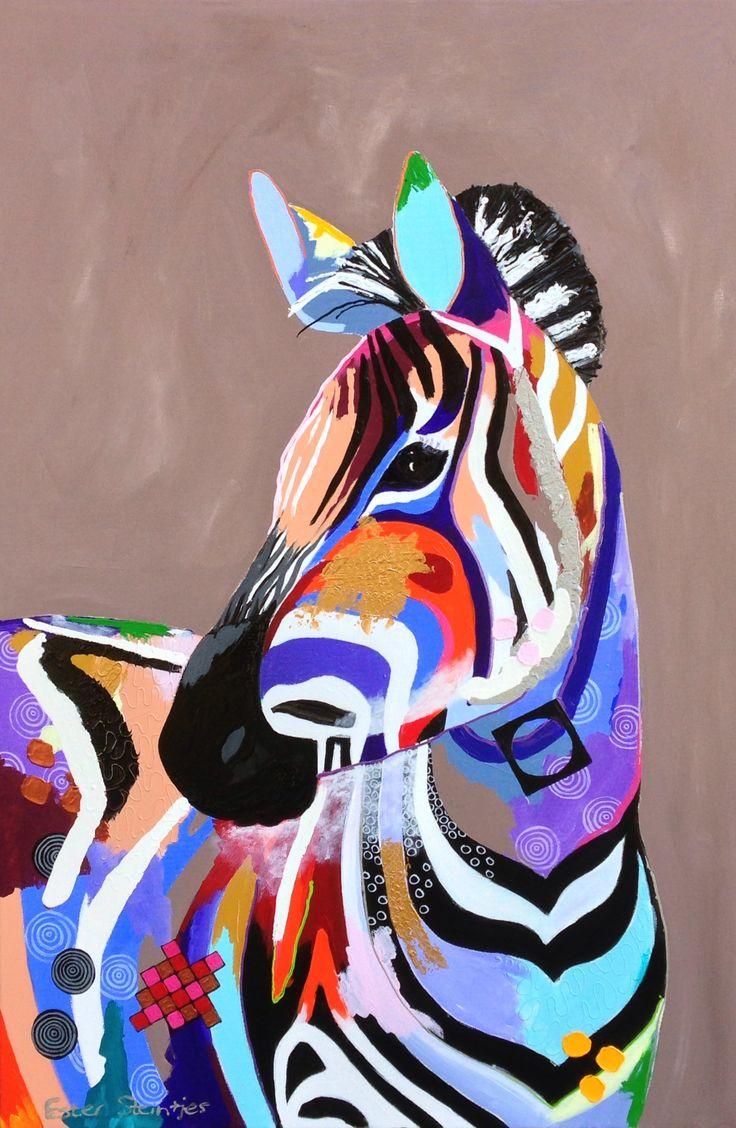 Colorful zebra, acryl/lak op doek, afmeting 80x120.