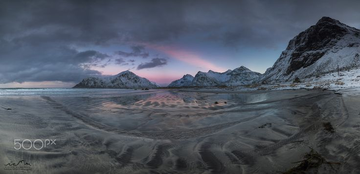 After Sunset Mood - It is the last day of January. I didn't expect too much, due to the weather conditions in the morning. But it got better and better each minute, and in the end of my photo-tour, I was blown away!! Once again my beloved Lofoten archipelago delivered the goodies from before noon, until late evening. This is a pano from the popular Skagsanden beach at Flakstad island.
