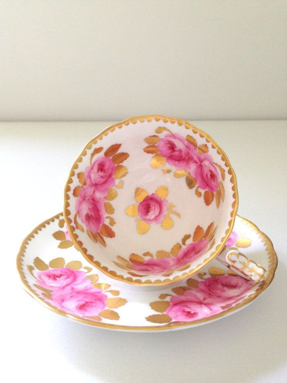 Antique English Royal Chelsea Cabbage Rose Pattern Fine Bone China Tea Cup & Saucer Tea Party.