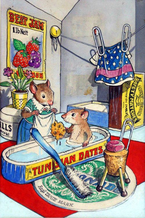 katie country mouse goes to london bath time original art by town mouse and country mouse. Black Bedroom Furniture Sets. Home Design Ideas