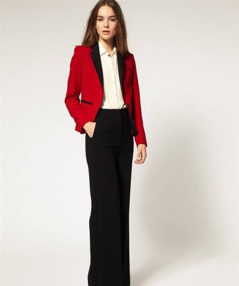 HQ 3237 Red Black Office Blazer. Fabric: cotton (not elastic) Bust 88 Shoulder 40 Length 65