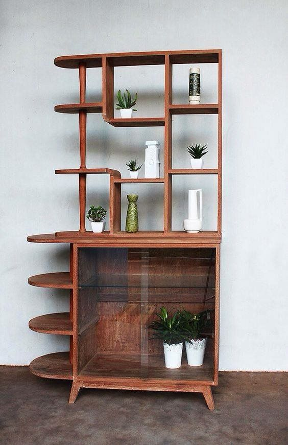 mid century bookcase a perfect mix of straight and organic lines