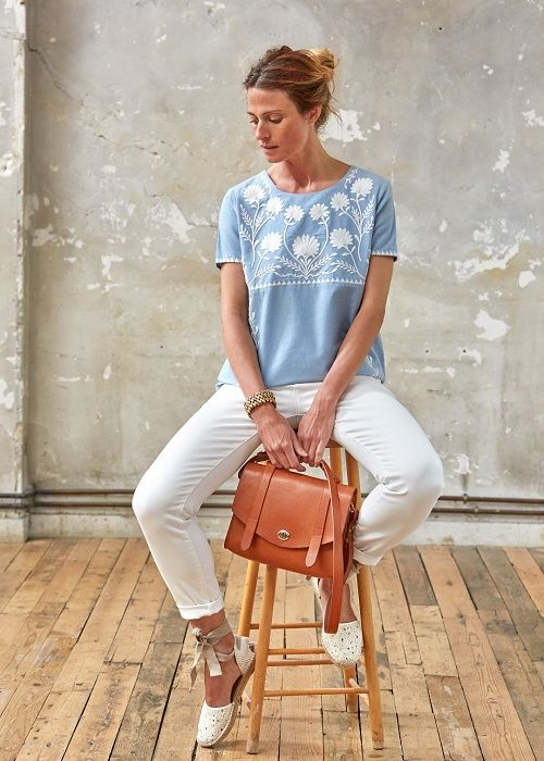Embroidered chambray, white jeans, espadrilles, tan leather.