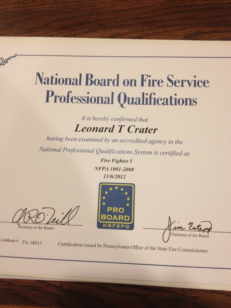 Firefighter 1 Proboard Certificate College Pinterest Firefighter