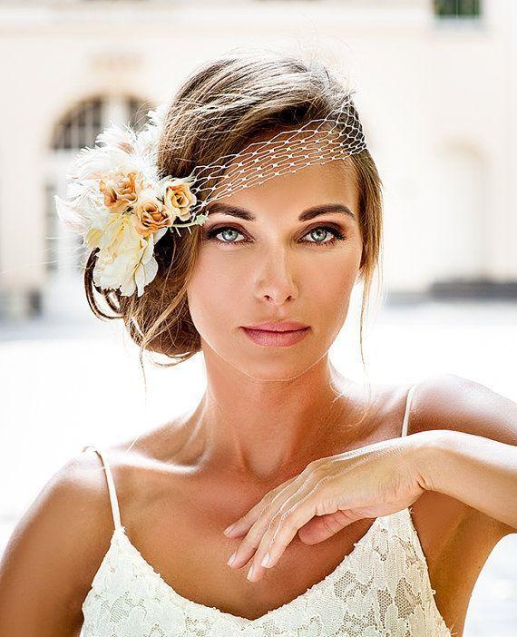 Bandeau model birdcage veil. couture bride hair jewellery assortment. Classic model bridal veil. Pink ivory flower veil. Royal Wedding ceremony