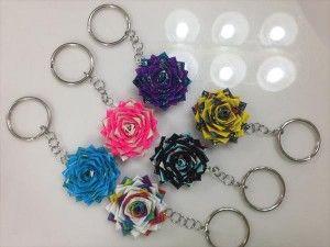 homemade duct tape flower keychain
