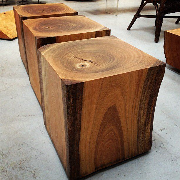 timber tables or stools by Tora Brasil. Ideas for speaker stand.