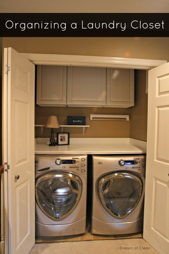 Do you have a small #laundry area that you don't know how to make work? See how this small laundry #closet was turned into an efficient area!