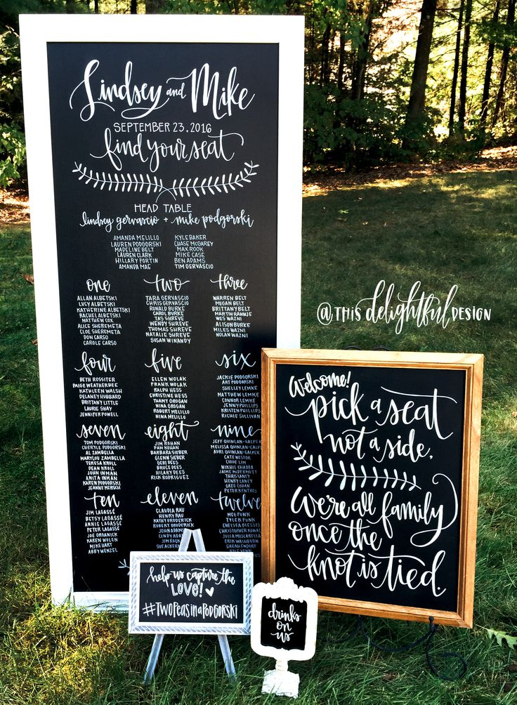 Wedding Signage | CHoose a seat not a side | Drinks on Us | Hashtag Sign | Chalkboard Sign | Inspo | Bride to Be | Program | Custom Chalk Lettering | Seating Chart | Modern Calligraphy | Typography | Hand lettering | Custom Signage || This Delightful Design by Katie Clark