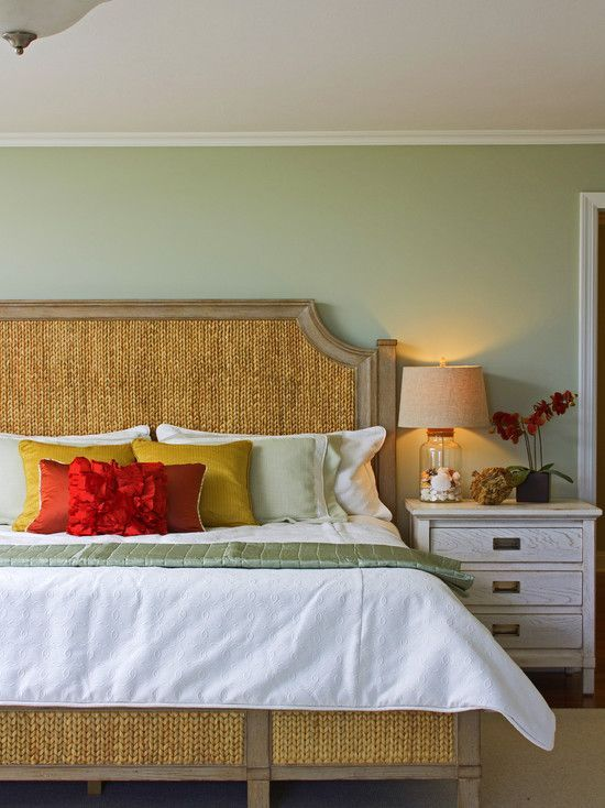 I wonder if i could make a bed look nautical by bluing strips of rope or sisal to look like this