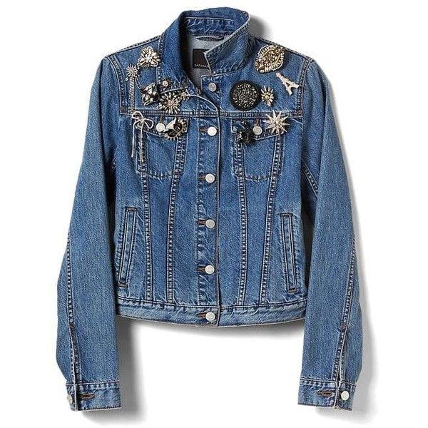 Embellished Denim Jacket   Banana Republic ❤ liked on Polyvore featuring outerwear, jackets, blue denim jacket, banana republic, blue jackets, embellished denim jacket and banana republic jacket