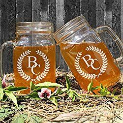 Set of 2 Personalized Initial Letter with Leaves Wedding Mason Jars with Handle Bulk Etched Laser Beer Glasse for Favor Wedding Gifts for Bride and Groom