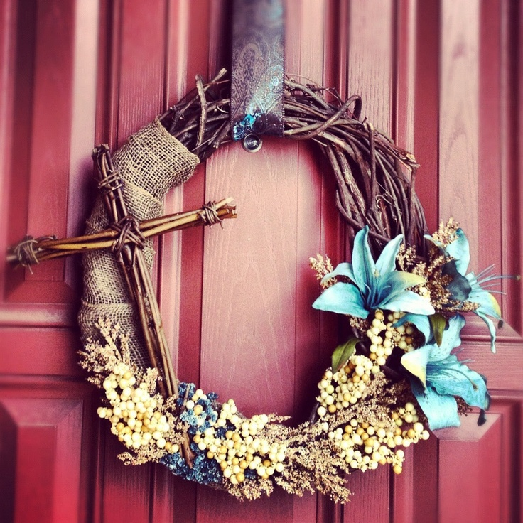 Easter Wreath With Cross He Is Risen Love This For