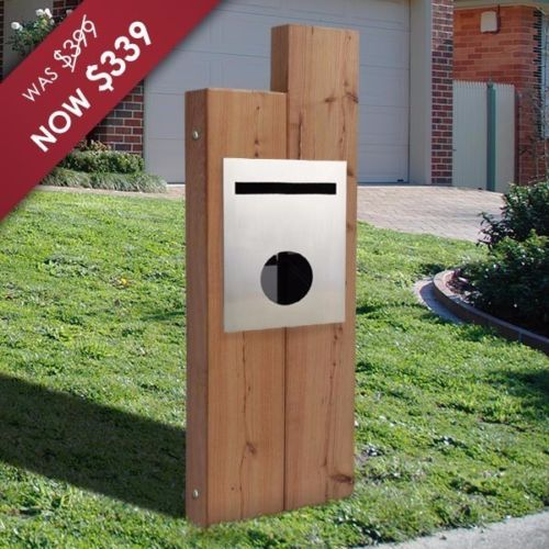 Timber-Sleeper-A4-Letterbox-with-Stainless-Front-Panel-Mailbox-Australian-Made